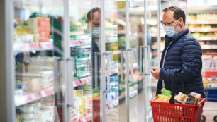 Middle,Age,Man,Buying,Food,In,Grocery,Store,,Wearing,Medical