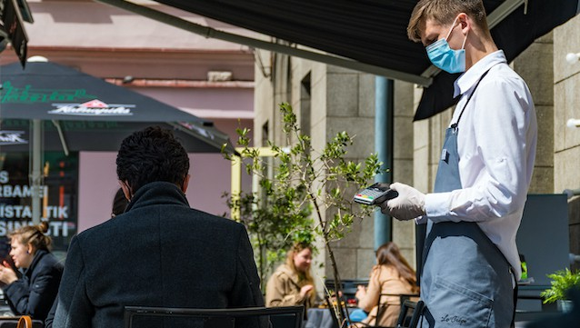 Vilnius,,Lithuania,-,May,15,2020:,Waiter,With,A,Mask